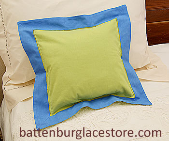 "Pillow Sham.12""x12"" Square. Macaw Green with French Blue border"